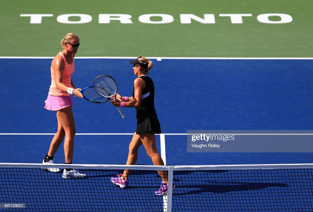 Anna-Lena Groenefeld of Germany and Kveta Peschke of Czech Republic compete against Ekaterina Makarova and Elena Vesnina of Russia in the doubles final match on Day 9 of the Rogers Cup at Aviva Centre on August 13, 2017 in Toronto, Canada.