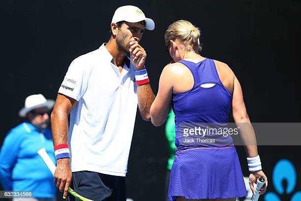 AnnaLena Groenefeld of Germany and Robert Farah of Colombia compete in their first round match against Elina Svitolina of the Ukraine and Chris...
