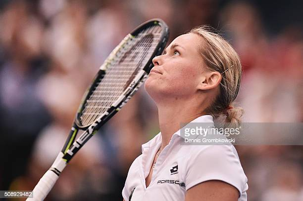 AnnaLena Groenefeld of Germany looks dejected in her double match with Andrea Petkovic on Day 2 of the 2016 FedCup World Group Round 1 match between...