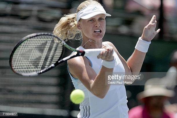AnnaLena Groenefeld of Germany returns a shot against Tatiana Golovin of France at the Bank of the West Classic on July 28 2006 in Stanford California
