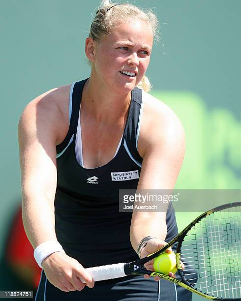 AnnaLena Groenefeld of Germany serves the ball against Jill Craybas during day four of the Sony Ericsson Open at the Crandon Park Tennis Center on...