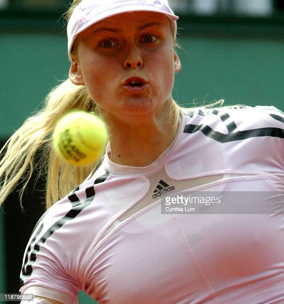 Anna-Lena Groenfeld of Germany defeats Maria Kirilenko of Russia 6-2, 7-6, in the third round of the French Open, Paris, France on June 2, 2006