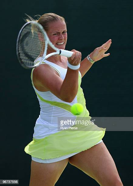 AnnaLena Groenfeld of Germany hits a forehand during her second round match against Alicia Molik of Australia during day three of the WTA Barclays...