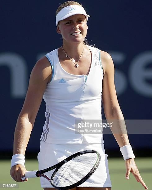 AnnaLena Groenfeld of Germany reacts during her match against Ana Ivanovic of Serbia on Day 4 of the JPMorgan Chase Open on August 10 2006 at Home...
