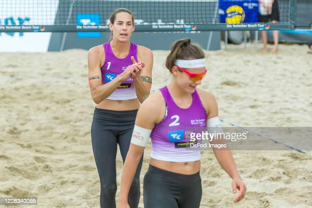 Anna-Lena Gruene of MTV 48 Hildesheim and Kira Walkenhorst of DJK TuSA 06 Duesseldorf looks on during the round of 16 match against Lisa-Sophie...