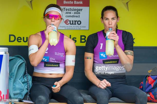 Anna-Lena Gruene of MTV 48 Hildesheim and Kira Walkenhorst of DJK TuSA 06 Duesseldorf looks on during the quarter final match against Margareta...