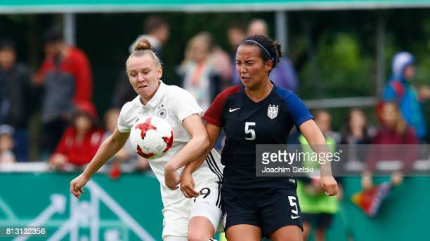 Annalena Rieke of Germany challenges Samantha Hiatt of USA during the international friendly match between U19 Women's Germany and U19 Women's USA at...