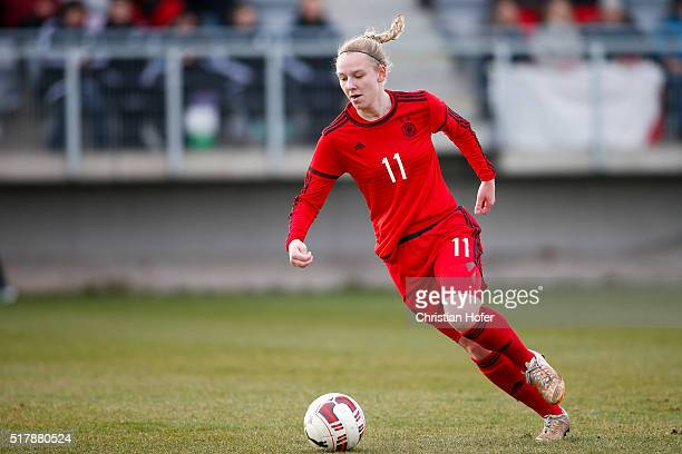 Annalena Rieke of Germany controls the ball during the U17 Girl's Euro Qualifier match between Austria and Germany at Moser Medical Arena in...