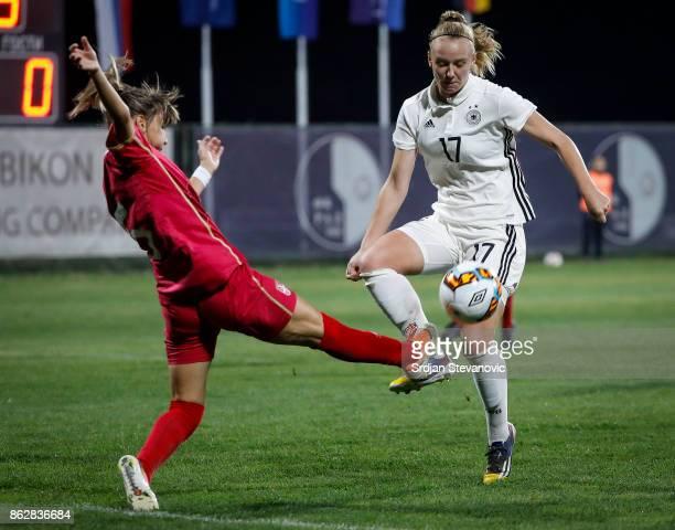 Annalena Rieke of Germany in action Miljana Smiljkovic of Serbia during the international friendly match between U19 Women's Serbia and U19 Women's...