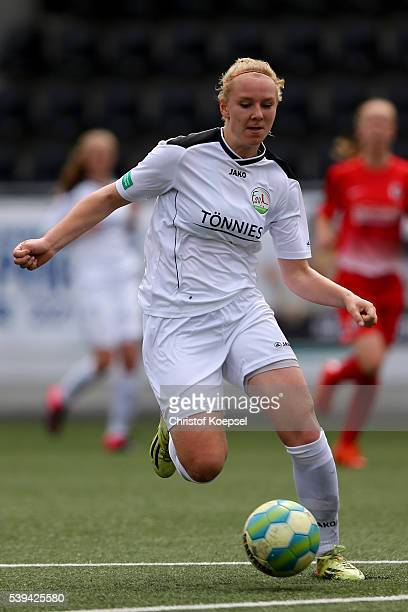 Annalena Rieke of Guetersloh runs with the ball during the U17 Girl's German Championship Semi Final Second Leg match between FSV Guetersloh and SC...