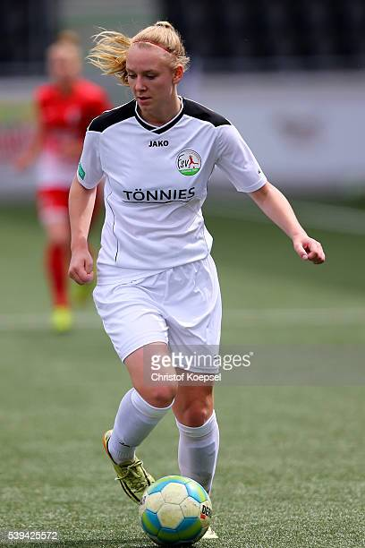 Annalena Rieke of Guetersloh runs with the balls during the U17 Girl's German Championship Semi Final Second Leg match between FSV Guetersloh and SC...