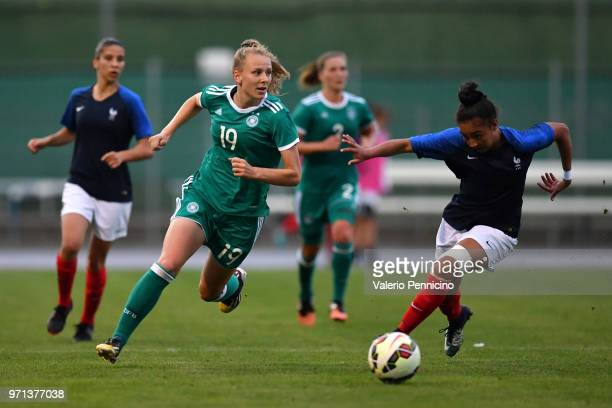 Annalena Rieke of U20 Women's Germany in action agaionst Selma Bacha of U20 Women's France during the Four Nations Tournament match between U20...