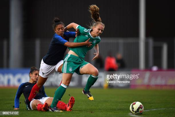 Annalena Rieke of U20 Women's Germany is tackle by Selma Bacha of U20 Women's France during the Four Nations Tournament match between U20 Women's...