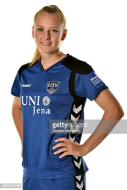Annalena Rieke of USV Jena poses during the Allianz Women's Bundesliga Club Tour on August 18 2016 in Jena Germany
