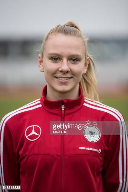 Annalena Rieke poses during the Germany Women's U19 team presentation on February 28 2017 in Duesseldorf Germany