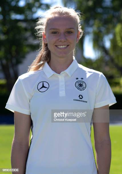 Annalena Rieke poses during the Germany Women's U20 Team Presentation at Sport Centrum KamenKaiserau on July 1 2018 in Kamen Germany