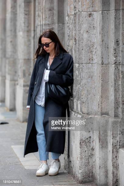 Annalena Sophie is seen wearing spring fashion Captain & son Sunglasses, Ivy & oak jacket in dark grey, mkae Bluse in white linen, Zara jeans in...