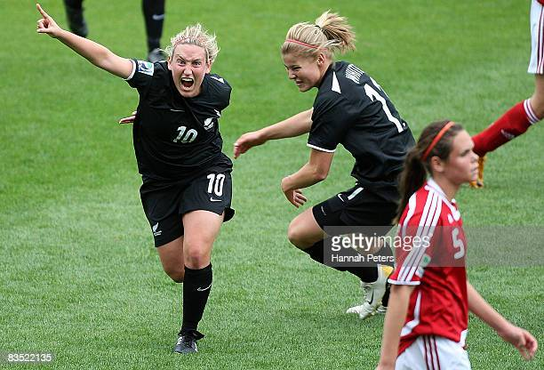 Annalie Longo of New Zealand celebrates after scoring a goal during the FIFA U17 Women's World Cup match between New Zealand and Denmark at North...