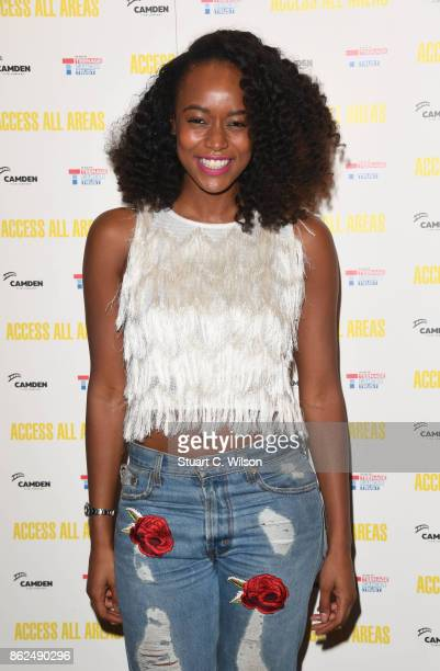 Annaliese Dayes arrives at the 'Access All Areas' VIP gala screening held at Proud Camden on October 17, 2017 in London, England.