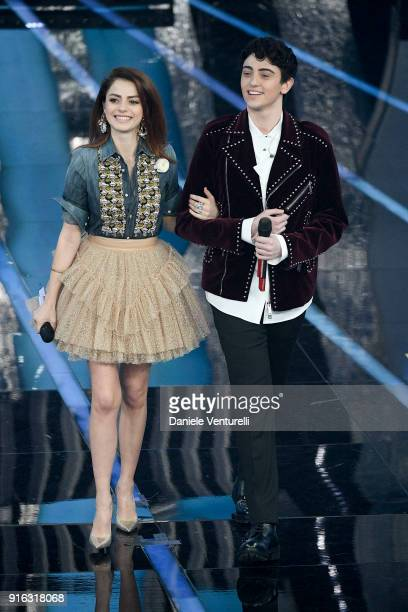Annalisa and Michele Bravi attend the fourth night of the 68 Sanremo Music Festival on February 9 2018 in Sanremo Italy