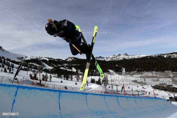 Annalisa Drew competes in the qualifying round of Ladies' Ski Halfpipe during the Toyota US Grand Prix on on January 17 2018 in Mammoth California
