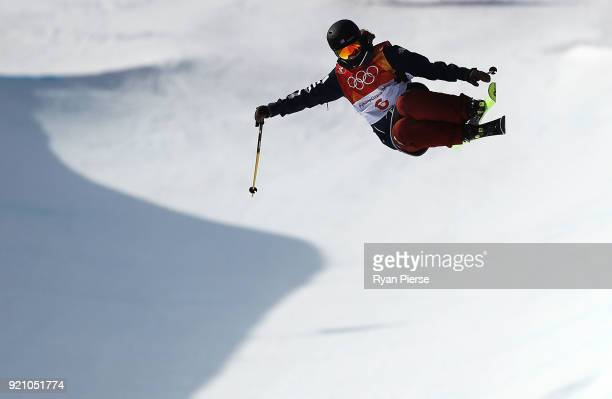 Annalisa Drew of the United States competes during the Freestyle Skiing Ladies' Ski Halfpipe Final on day eleven of the PyeongChang 2018 Winter...