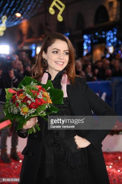 Annalisa walks the red carpet of the 68 Sanremo Music Festival Preview on February 5 2018 in Sanremo Italy