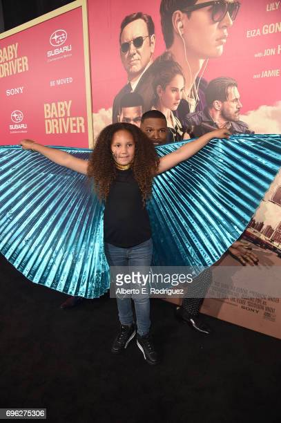 Annalise Bishop and actor Jamie Foxxattend the premiere of Sony Pictures' 'Baby Driver' at Ace Hotel on June 14 2017 in Los Angeles California