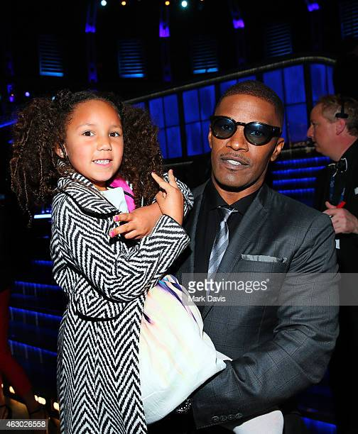 Annalise Bishop and actor/recording artist Jamie Foxx attend The 57th Annual GRAMMY Awards at STAPLES Center on February 8 2015 in Los Angeles...