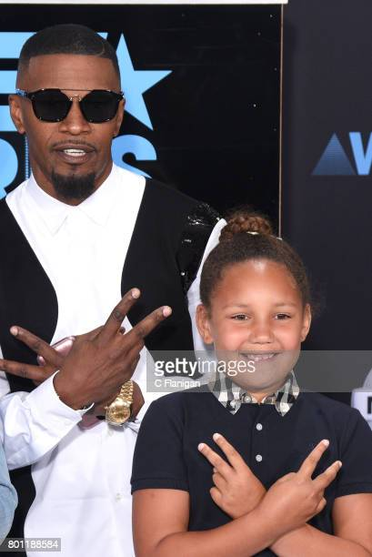 Annalise Bishop and father Jamie Foxx at the 2017 BET Awards at Staples Center on June 25 2017 in Los Angeles California