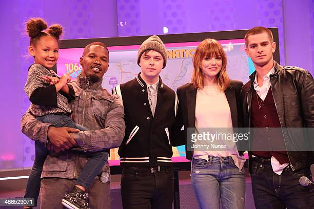 Annalise Bishop Jamie Foxx Dane DeHaan Emma Stone and Andrew Garfield visit BET's 106 Park at BET Studios on April 24 2014 in New York City