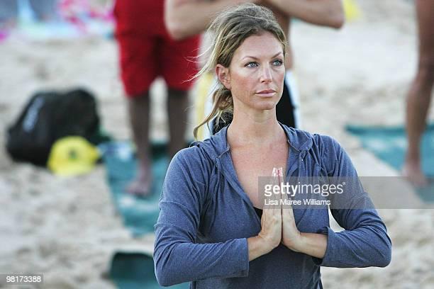 Annalise Braakensiek joins 284 Sydneysiders in the annual free Gumtree Community Yoga Class at Bondi Beach on April 1 2010 in Sydney Australia
