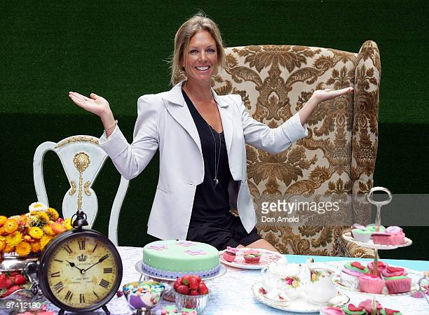 Annalise Braakensiek poses at the launch of the Cancer Council's 'Australia's Biggest Morning Tea' event to coincide with Disney's Alice In...