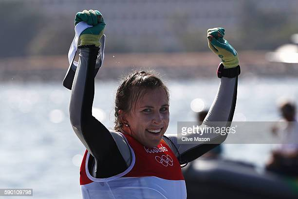 Annalise Murphy of Ireland celebrates winning the silver medal in the Women's Laser Radial class on Day 11 of the Rio 2016 Olympic Games at the...