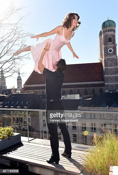 Anna-Louise Weihrauch and Mate Gyenei perform during the 'Dirty Dancing' Musical Photocall at Hotel Bayerischer Hof on October 14, 2014 in Munich,...