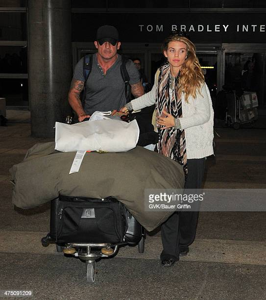 AnnaLynne McCord and Dominic Purcell seen at LAX airport on February 26 2014 in Los Angeles California