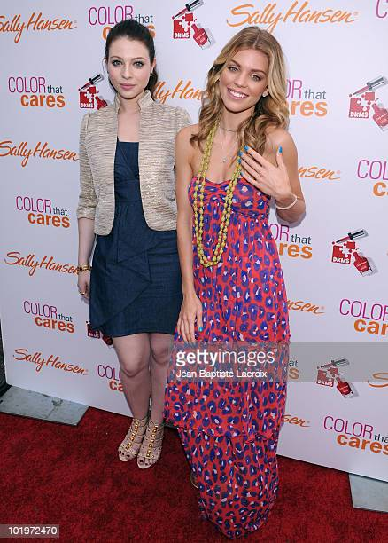 AnnaLynne McCord and Michelle Trachtenberg attend the Sally Hansen manicures charity event to benefit DKMS held at Hollywood Highland Courtyard on...