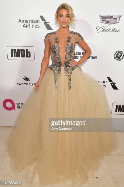 AnnaLynne McCord attends the 27th annual Elton John AIDS Foundation Academy Awards Viewing Party celebrating EJAF and the 91st Academy Awards on...