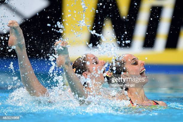 AnnaMaria Alexandri and Eirini Alexandri of Austria compete in the Women's Duet Technical Synchronised Swimming Final on day two of the 16th FINA...