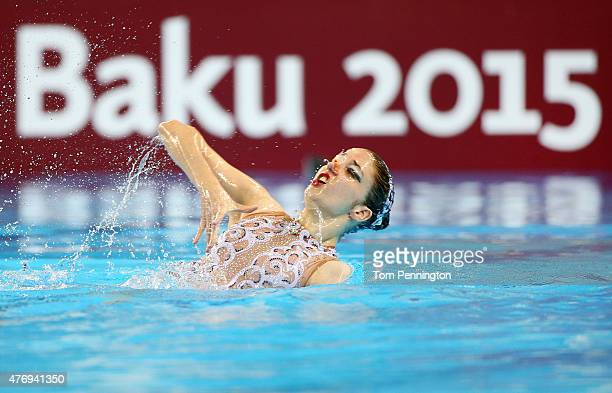 AnnaMaria Alexandri of Austria competes in the Synchronised Swimming Solo Free Routine Preliminary during day one of the Baku 2015 European Games at...
