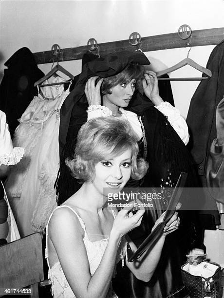 Annamaria Gambineri and Sandra Mondaini in their dressing room while they are preparing for the stage the two showgirls are hosting the TV show...