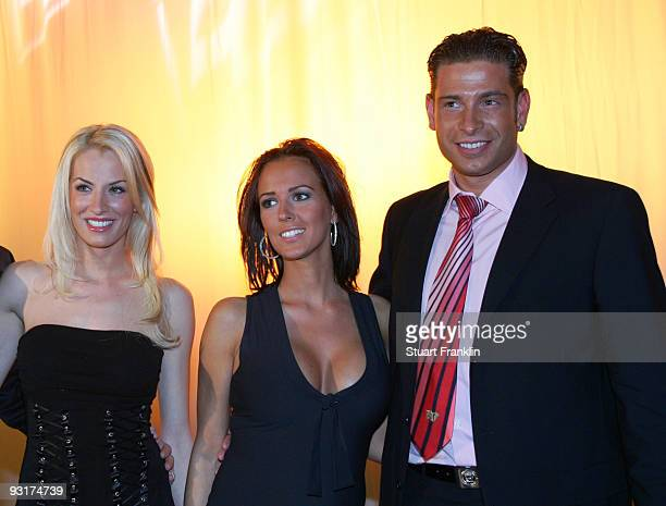 AnnaMaria Lagerblom Grit Freiberg and Tim Wiese pose during the Werder Bremen Green White Night 2006 on February 4 2006 at The Congress Centre in...