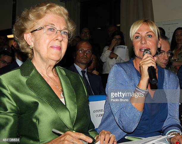 AnnaMaria Tarantola President of Italian Television and Antonella Clerici attend the 'Interreligious match for Peace' press conference on August 25...