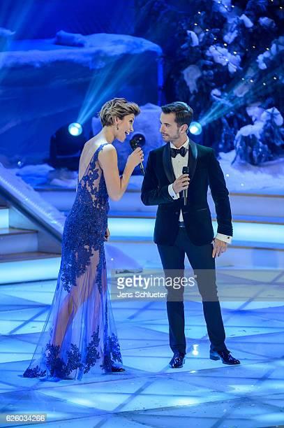 AnnaMaria Zimmermann and Florian Silbereisen are seen on stage during the tv show 'Das Adventsfest der 100000 Lichter' on November 26 2016 in Suhl...