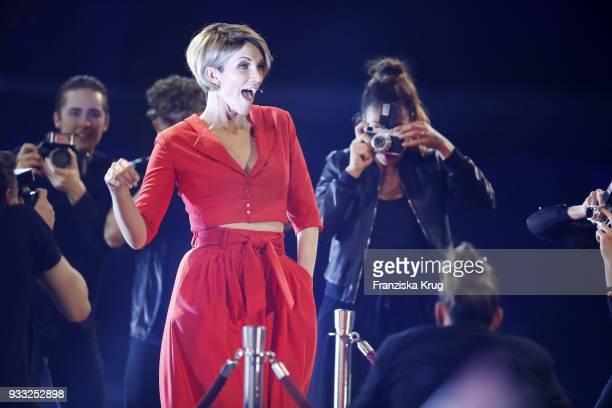 AnnaMaria Zimmermann performs during the TV show 'Heimlich Die grosse SchlagerUeberraschung' on March 17 2018 in Munich Germany