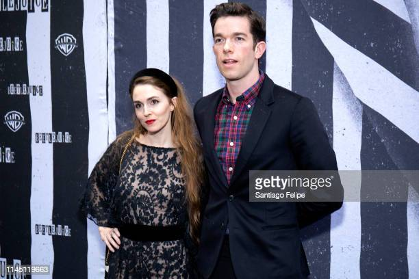 Annamarie Tendler and John Mulaney attend Beetlejuice Broadway opening night at Winter Garden Theatre on April 25 2019 in New York City