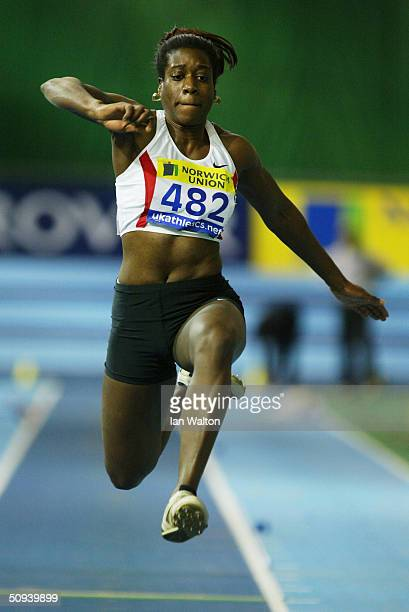 AnnaMarie Thorpe on action in the Triple Jump during the Norwich Union World Indoor Athletics Trials at the English Institue of Sport February 7 2004...
