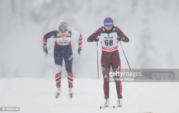 Anna Nechaevskaya of Russia during the cross country sprint qualification during the FIS World Cup Ruka Nordic season opening at Ruka Stadium on...