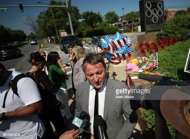 Annapolis Mayor Gavin Buckley speaks to the media near the Capital Gazette the day after 5 people were shot and killed by a gunman on June 29 2018 in...