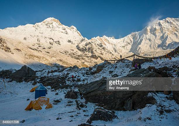 Annapurna base camp in Himalaya mountains range of Nepal.